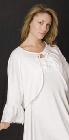 Ruffle Sleeve Bedjacket Supima Cotton with Lace Knit Ruffle, Made In The USA