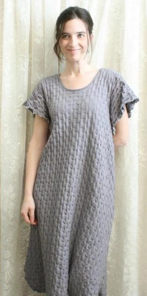 Smokey Neutrals Short Sleeve 3/4 Length Gown Waffle Collection