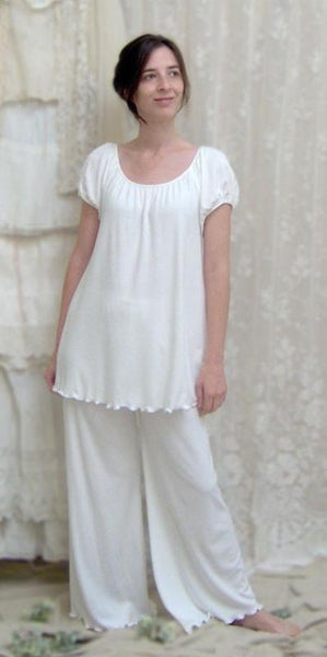 Elegant White Raglan Long Top & Pajamas, Made In The USA by Simple Pleasures Inc.