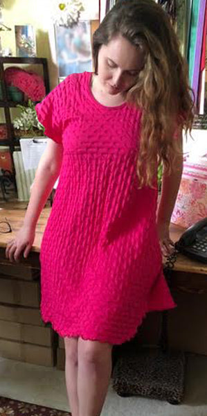Hot Pink Short Sleeve Short Gown Waffle Collection