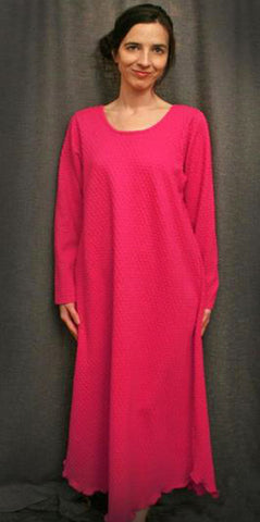 Hot Pink Long Sleeve Long Gown Dot Collection