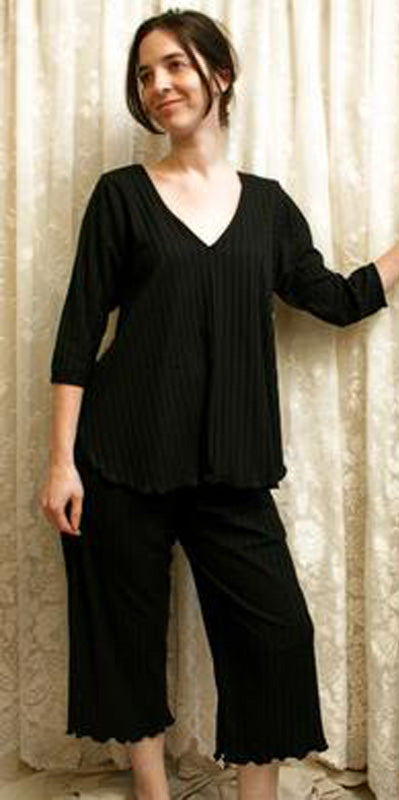 V Neck 3/4 Sleeve Long Top & Palazzos Shadow Stripe Collection