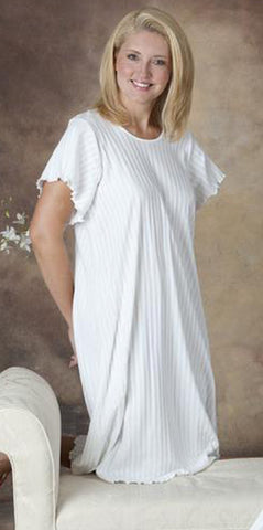 Short Sleeve 3/4 Length Gown Shadow Stripe Collection