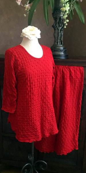 Vibrant Brights 3/4 Sleeve Long Top & Palazzos Waffle Collection Cherry Red