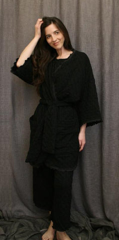 Basic Wrap Robe With Exterior Pockets and Lettuce Edge Trim, 100% Cotton Knit, Made In The USA by Simple Pleasures Inc.