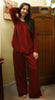 Burgundy Long Sleeve Pajamas, Soft Cotton Interlock