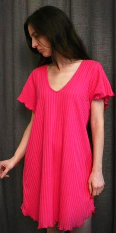 Vibrant Brights V Neck Short Sleeve Short Gown Shadow Stripe Hot Pink