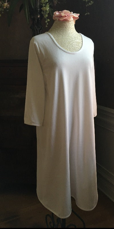 Night & Day Basics 3/4 Sleeve Knee-Length Gown Jersey Knit