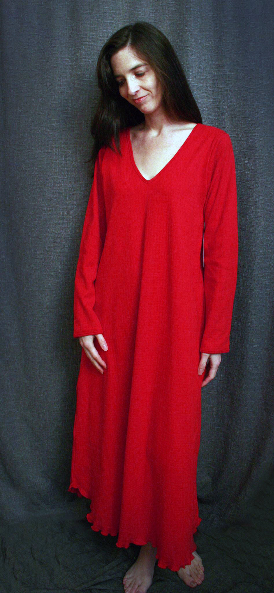 V Neck Long Sleeve Long Gown Check Collection