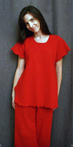 Vibrant Brights Short Sleeve Long Top & Palazzos Dot Collection Cherry Red