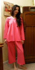 Paradise Pink Long Sleeve Palazzos, Soft Cotton Interlock