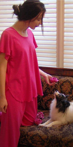 Short Sleeve Top with Palazzo Pajamas, Soft Cotton Interlock Fabric, Made In The USA, Hot Pink