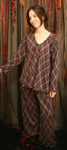 School Girl Plaid V Neck Long Sleeve Pajamas, Double Knit Cotton Pajamas