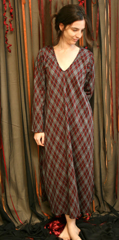 Double Knit Cotton V Neck Nightgown, Yarn dyed School Girl Plaid