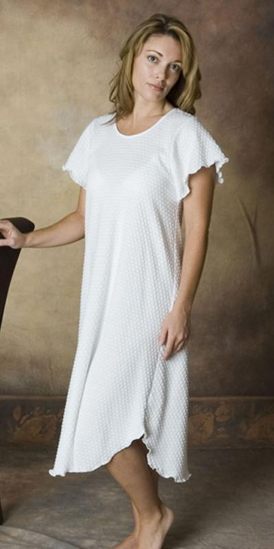 Short Sleeve 3/4 Length Cotton Knit Dot Nightgown, Made In The USA, by Simple Pleasures Inc.