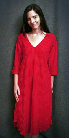 Vibrant Brights V Neck 3/4 Sleeve 3/4 Length Gown Shadow Stripe Collection Cherry Red