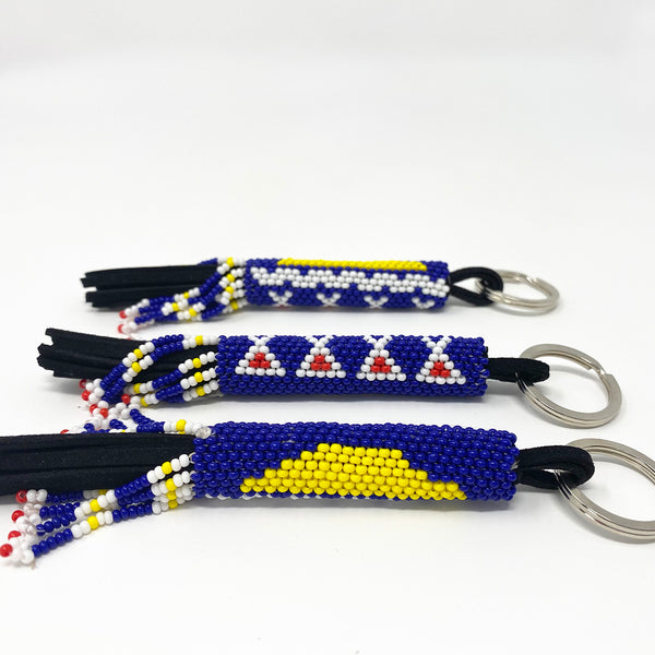 Beaded Fringe Tłı̨chǫ Flag Key Chain