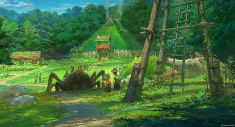 Princess Mononoke Village Concept Art from the Studio Ghibli Theme Park