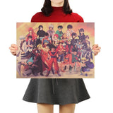 LARGE Anime Heroes Mash up Vintage Print Poster