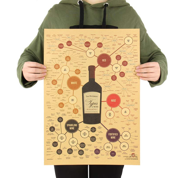 LARGE The Different Types of Wine & Flavor Profiles Vintage Print