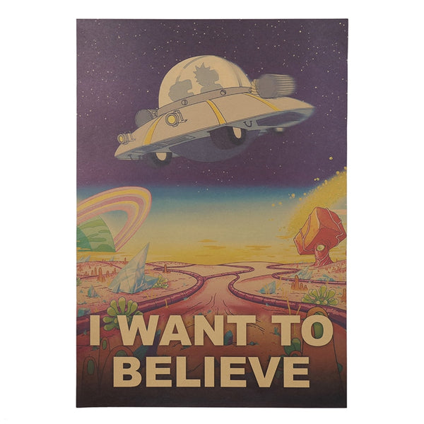 Rick and Morty We Want to Believe Vintage Poster