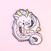 LARGE Cute Haku Enamel Pin
