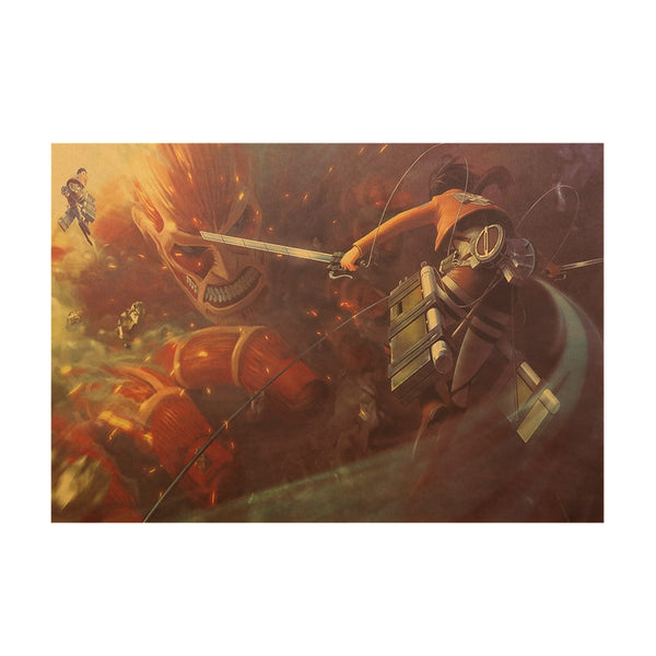 Mikasa Vs The Colossal Titan Attack On Titan Poster Print