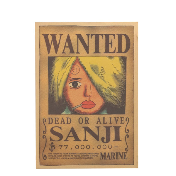 Large Sanji One Piece Most Wanted Poster  20x14in (51x36cm)