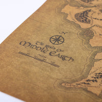 Vintage Middle Earth Map On The Lord of The Rings Poster
