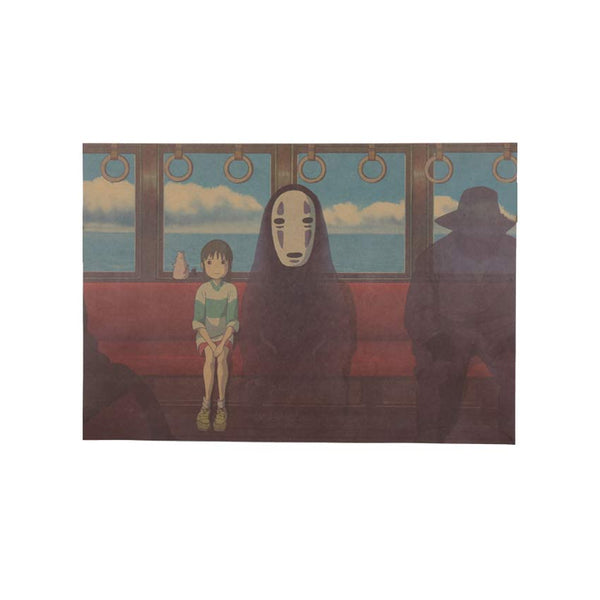 LARGE Sen and No Face on the Train Vintage (Spirited Away) Poster 20x14in (51x36cm)