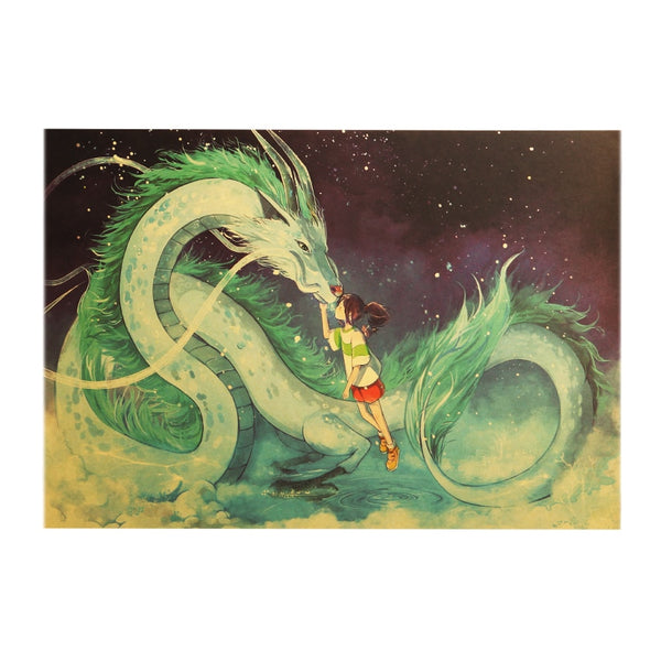 Haku Chihiro Dragon Kiss Spirited Away Retro original Japanese Poster
