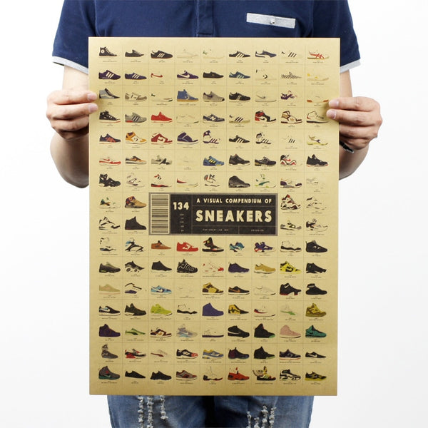 LARGE A Visual Compendium of Sneakers Vintage Poster Print