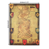 Game of Thrones Westeros House Map 42X36cm