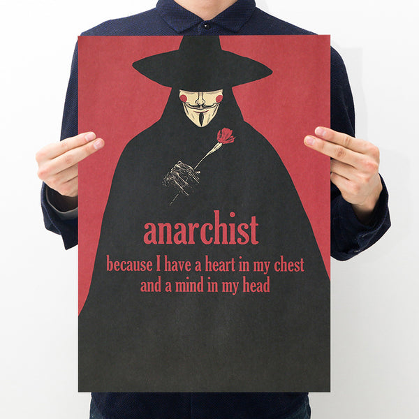 LARGE V for Vendetta Anarchist Poster Print