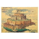 Laputa Castle in the Sky City Hand Drawn Poster Print 51X36cm