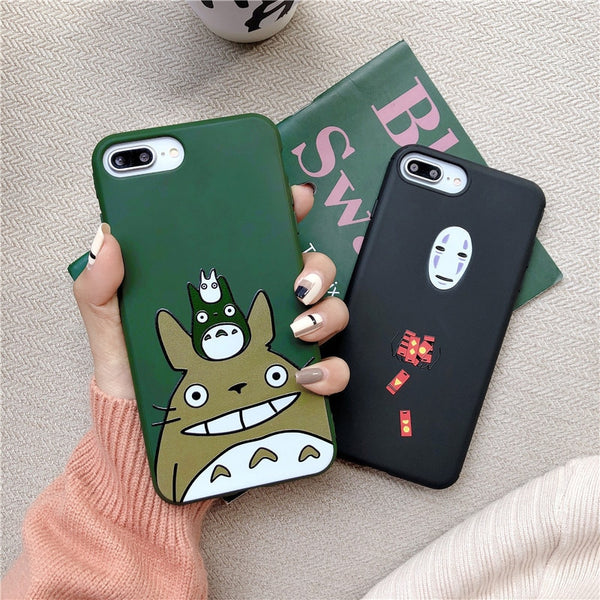Totoro and No Face luxury silicone soft iphone case