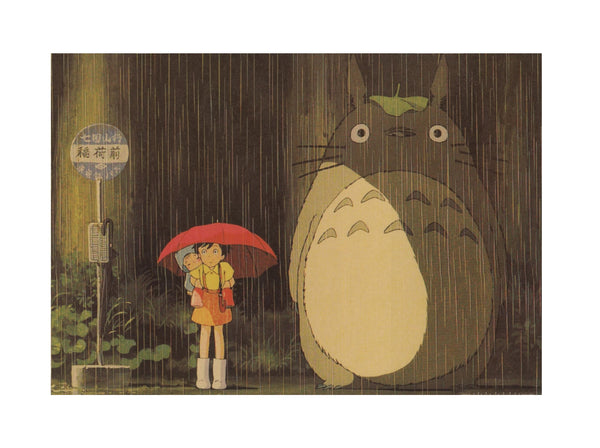 Rain at the Bus Stop Poster (My Neighbor Totoro)  20x14in (51x36cm)