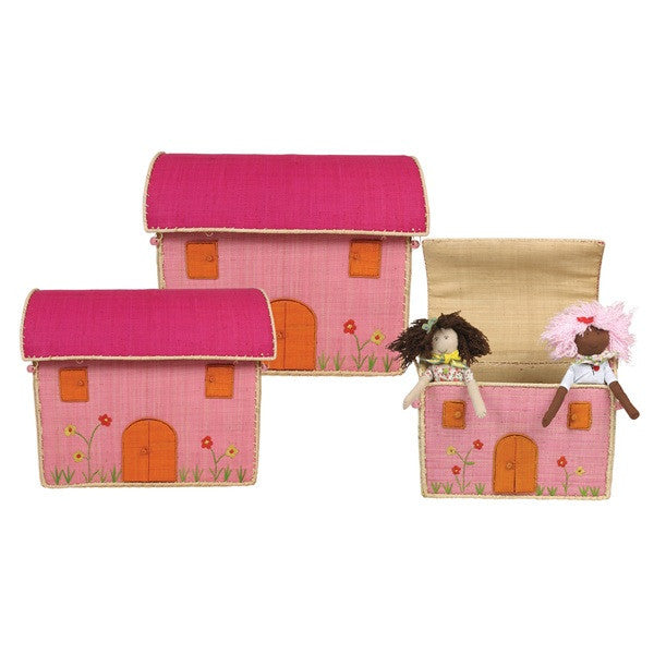 Rice DK Pink House Toy Baskets