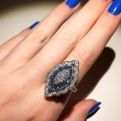Retro Style Deep Blue Zarconia Ring