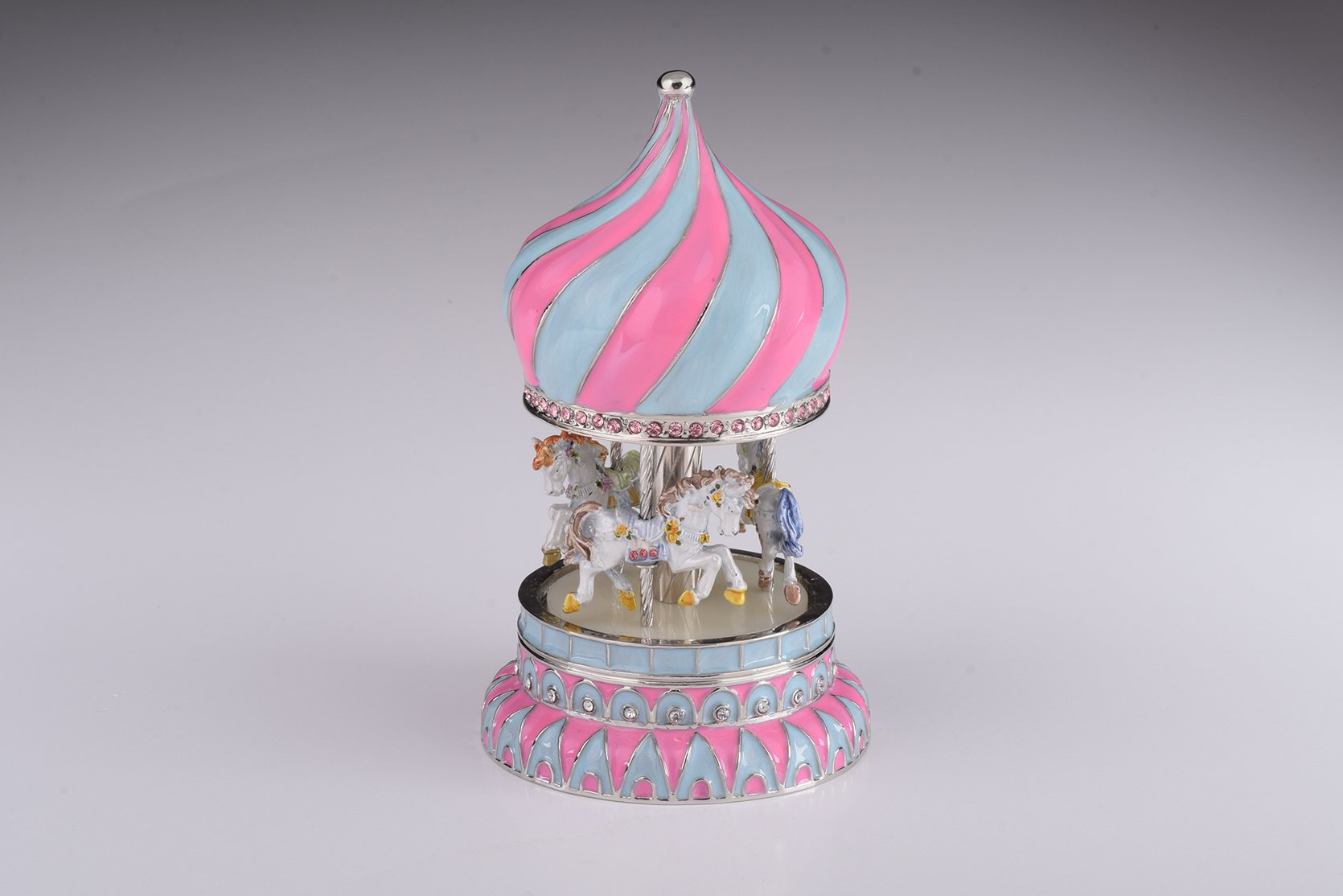 Pink Wind up Musical Carousel with Crystals