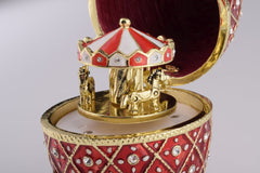 Red Faberge Egg with Horse Carousel Surprise Inside