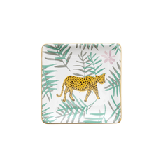Rice DK CERAMIC JEWELRY DISH LEOPARD AND LEAVES PRINT