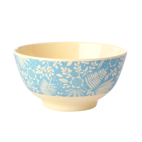Rice DK Blue Fern and Flower Print Two Tone Melamine Bowl