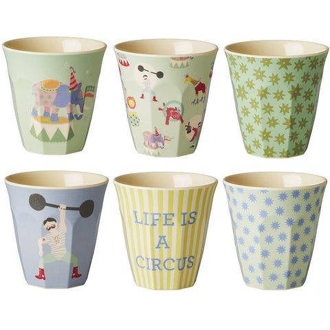 Rice DK | Set of 6 Small Melamine Boys Circus Print Cups