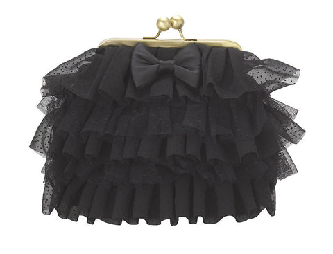 Lisbeth Dahl Black Ruffle Clutch Bag
