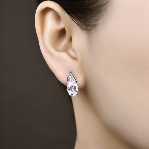 Oval AAA Zircon Stud Earrings