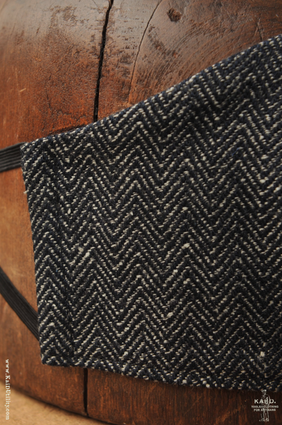 Cloth Face Mask - Antique Indigo Herringbone