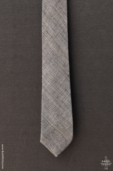 Double Gauze Mini Gingham Tie - Grey