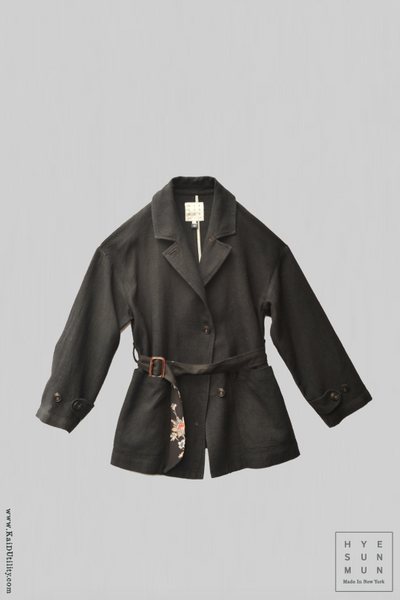 Safari Jacket - Raw Silk - Black - S, M