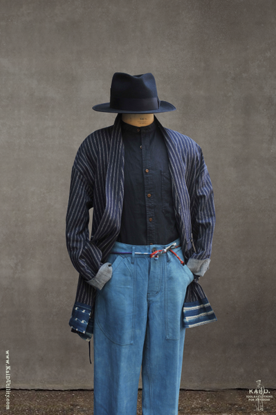 Japanese Farmer Coat - Striped Linen Cotton - M